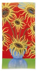 Beach Towel featuring the painting Sunflowers On Red by Marie Schwarzer