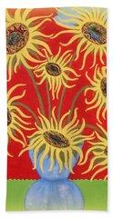 Sunflowers On Red Beach Towel