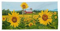 Sunflowers On Route 45 - Pennsylvania- Autumn Glow Beach Towel