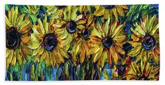 Sunflowers  Palette Knife Beach Towel