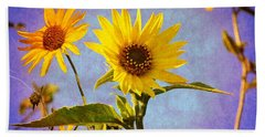 Beach Sheet featuring the photograph Sunflowers - The Arrival by Glenn McCarthy Art and Photography
