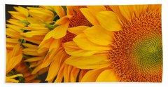 Sunflowers Train Beach Towel