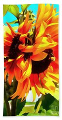 Beach Towel featuring the photograph Sunflowers - Twice As Nice by Janine Riley