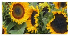 Beach Towel featuring the photograph Sunflowers Two by Chrisann Ellis