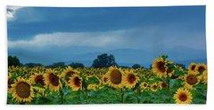 Sunflowers Under A Stormy Sky Beach Sheet