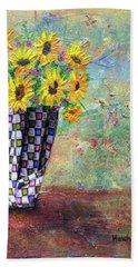 Sunflowers Warmth Beach Sheet by Haleh Mahbod