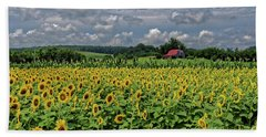 Sunflowers With Barn Beach Towel