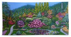 Beach Towel featuring the painting Sunken Garden by Amelie Simmons