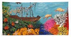 Sunken Treasure Ship Beach Towel
