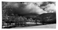 Sunlight Clouds And Snow In Black And White Beach Towel