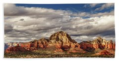 Beach Towel featuring the photograph Sunlight On Sedona by James Eddy