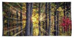 Sunlight Through The Pines Beach Towel by Barry Jones
