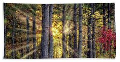 Sunlight Through The Pines Beach Sheet by Barry Jones