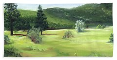 Beach Towel featuring the painting Sunlit Mountain Meadow by Jane Autry