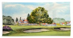 Beach Towel featuring the painting Sunningdale Golf Course 18th Green by Bill Holkham