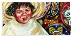Beach Towel featuring the painting Sunny Day by Hiroko Sakai