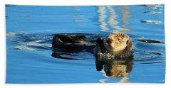 Sunny Faced Sea Otter Beach Towel