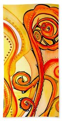 Beach Towel featuring the painting Sunny Flower - Art By Dora Hathazi Mendes by Dora Hathazi Mendes