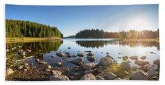 Sunny Landscape Of A Mountain Lake Beach Sheet