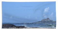 Beach Towel featuring the photograph Sunny Morning At Roads End by Peggy Hughes