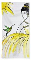 Sunny Princess Talk With Hummingbird Beach Towel