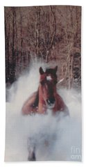 Beach Towel featuring the photograph Sunny Running For The Barn. by Jeffrey Koss