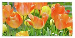 Beach Towel featuring the photograph Sunny Tulips by David Lawson
