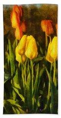 Sunny Tulips Beach Towel