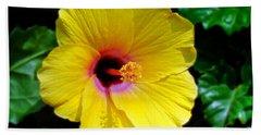 Sunny Yellow Hibiscus Beach Towel