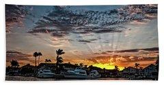 Sunrays Over Huntington Harbour Beach Towel