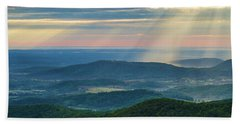 Beach Towel featuring the photograph Sunrays Over The Blue Ridge Mountains by Lori Coleman