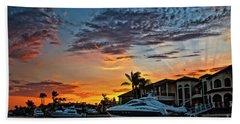 Sunrays Sunset Over Huntington Harbour Beach Towel