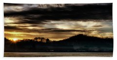 Beach Towel featuring the photograph Sunrise And Hay Bales by Thomas R Fletcher