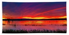 Sunrise At Bosque Del Apache Beach Sheet by Kristal Kraft