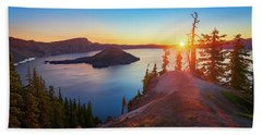 Sunrise At Crater Lake Beach Towel