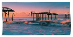 Beach Towel featuring the photograph Sunrise At Outer Banks Fishing Pier In North Carolina Panorama by Ranjay Mitra