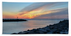 Sunrise At Point Pleasant Inlet Beach Towel