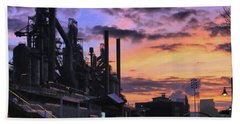 Beach Towel featuring the photograph Sunrise At Steelstacks by DJ Florek
