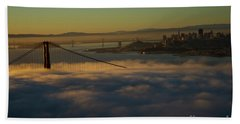 Beach Towel featuring the photograph Sunrise At The Golden Gate by David Bearden