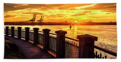 Sunrise At The Harbor Beach Towel