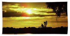 Sunrise At The Lake Beach Towel by D Hackett