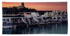 Beach Sheet featuring the photograph Lake Murray Sunrise At The Marina by Tamyra Ayles