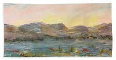 Beach Towel featuring the painting Sunrise At The Pond by Norma Duch