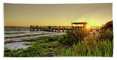 Sunrise At The Sanibel Island Pier Beach Towel by Chrystal Mimbs
