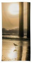 Beach Towel featuring the photograph Sunrise Bird At Beach  by John McGraw