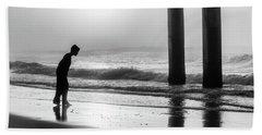 Beach Towel featuring the photograph Sunrise Boy In Foggy Beach by John McGraw