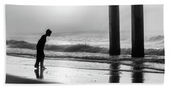 Beach Sheet featuring the photograph Sunrise Boy In Foggy Beach by John McGraw
