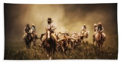 Sunrise Cattle Drive Beach Towel by Priscilla Burgers