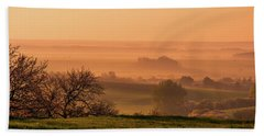 Beach Sheet featuring the photograph Sunrise Foggy Valley by Jenny Rainbow