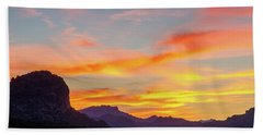 Sunrise From Hieroglyphic Trail Beach Towel by Greg Nyquist
